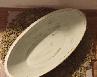 Decorative Oblong Wooden Bowl and Plate Set
