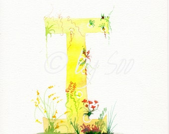 Letter I Watercolour Monogram Print