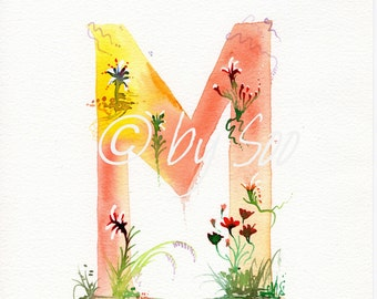 Letter M Watercolour Monogram Print