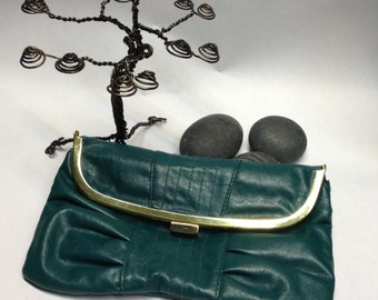 Teal LuLu clutch purse 70's foldover style with gold snap closure