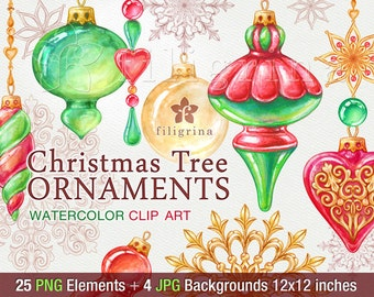 Christmas Tree Ornaments. Holiday WATERCOLOR Clip Art. Balls, snowflake, beads garland. 25 elements, 4 pattern backgrounds. Read about usage