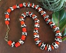 20% OFF Genuine African Kenya Bone and Orange Cracked Turquoise Tribal Necklace