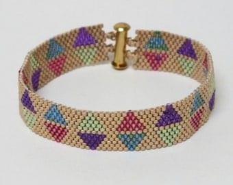 Beadwoven Bracelet  of Pastel Colors   Peyote Beadwoven Seed Bead Bracelet  Contemporary Modern OOAK Jewelry