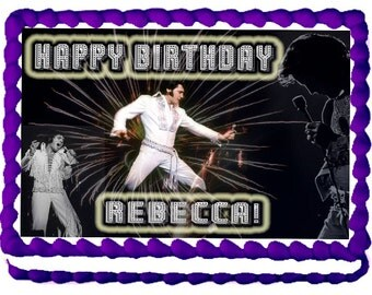 Elvis 1/4 Sheet Edible Photo Birthday Cake Topper. ~ Personalized!