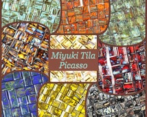 Miyuki Tila Beads - Opaque Turquoise Blue Picasso [ TL-4514], miyuki beads, twin holes, bulk beads, wholesale, flat, 5x5 5x5mm, japan
