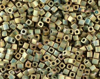 Miyuki 3mm Cube Beads - Matte Metallic Khaki Iris [ SB3-2035]