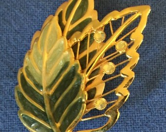 Vintage 1960s Green Enamel Leaf and Rhinestone Brooch