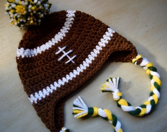 Newborn and Baby Football Hat with Pom Pom, Green/Yellow/White Football Earflap Hat with Braids