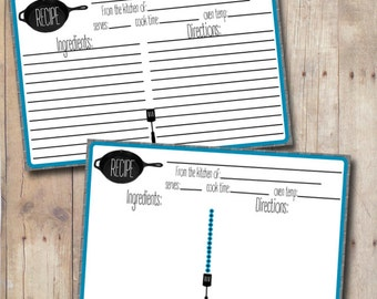 Rustic Skillet Recipe Card- Editable - Printable- Instant Download - Lined Recipe Card - 4x6 Recipe Card - Double Sided Recipe Card