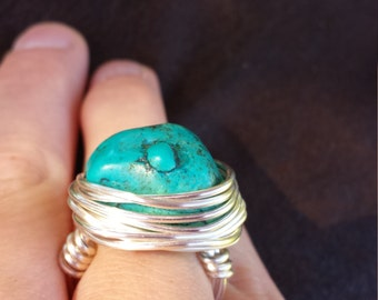 turquoise wire wrapped ring, size 6