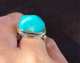 turquoise wrapped wire ring size 5 1/2