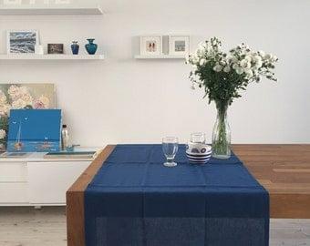 Deep Ocean. Linen Table Runner. Dark Blue, 25'' x 57'' (65 x 145 cm)