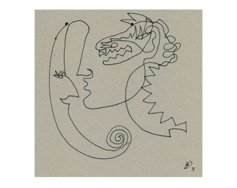 """15/15 """"Moon Dragon"""" small original drawing / hand-drawn image"""