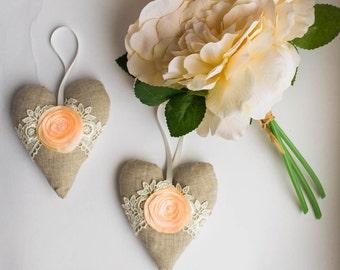 Linen rose lace hearts set