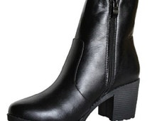 Ladies Women Winter Chunky Kitten Block Heel Chelsea Ankle Boot Shoes Size 3-8