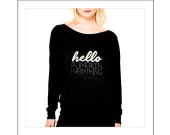 "Women's Fall T-Shirt  ""Hello Pumpkin Everything"" - Graphic Tee Shirt"