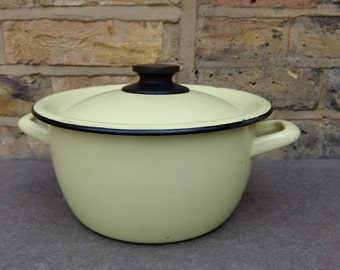 French Vintage Yellow Enamel Pot and Lid