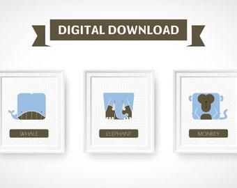 Baby wall art ,nursery wall decor printable art, Digital Print, animals wall art Set of 3 blue animals prints whale, elephant and monkey