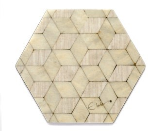 6 Ivory Coasters Mother of Pearl coasters Retro coasters Art Deco coaster Square Coaster Melamine Coasters Ivory Birthday Gift Her Birthday