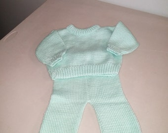Two-piece knitted baby sweater set
