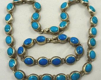 "Vintage Taxco Mexico Designer Sterling Silver Blue Turquoise 20"" Necklace & 7.75"" Bracelet Set- LARGE SIZE! Lots Of Turquoise 125 grams"