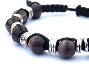 Men's Wooden Bracelet, Macrame With Dark Wood Beads, Masculine Design, Gift for Husband Father Boyfriend Brother