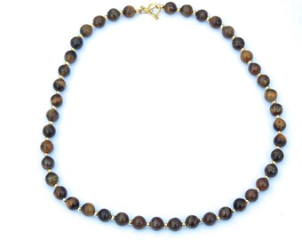 Tiger's Eye Necklace, Beaded High Quality Tiger Eye Stones
