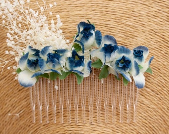 Flower,clip,blue,white,rose,blue,deep,natural,boho,chic,ellegant,woodland,ivory,hairdresser,dried flower