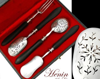 Boxed French Sterling Silver 4pc Hors d'Oeuvres Set - Henin