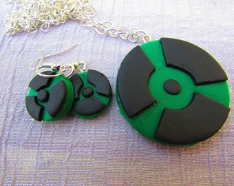Hulk Symbol Necklace and Earring Set