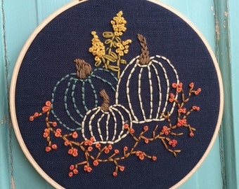 "6"" Hand Embroidered Hoop Art ""Pumpkins and Bittersweet"""