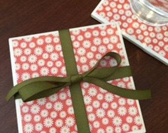 Tiny Daisy Coasters, Daisy Coasters, Floral Coasters, Flowers, Set of 4 Coasters, Drinkware, Barware, Home Decor, Hostess Gift, Housewarming