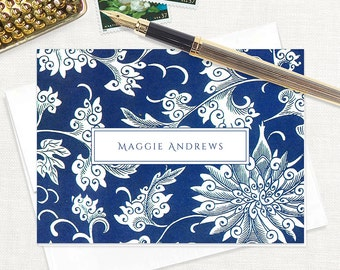 personalized stationery set - BLUE and WHITE leafy FLORAL - set of 8 folded note cards - flower stationary - botanical - color envelopes