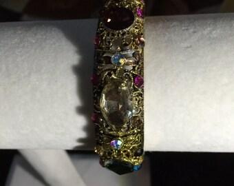 Vintage Multi colored stones hinged bangle bracelet.