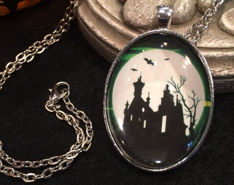 Green and Black Haunted House with Bats and Full Moon Bronze or Silver Halloween Pendant Necklace