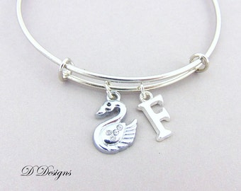Swan Bangle, Bird Bangle, Swan Bracelet, Bird Bracelet Personalised Bangle, Swan Jewellery, Swan Gifts, Bird Jewellery,