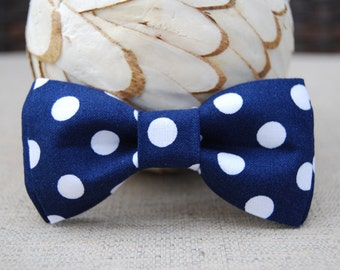 Navy blue polka dot bow tie
