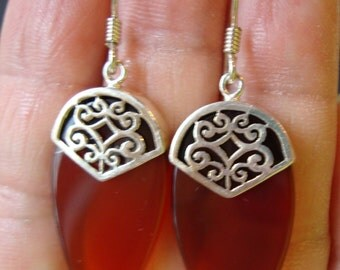 Sterling Silver 925 Stamped Boma Signed, Modernist Filigree and Carnelian Glass Dangle Earrings.