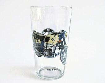 Vintage Beverage Glass Big BMW R 75/5 Drinking Glass 70's BMW Motor Cycle Decor Tumbler