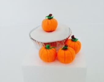 Halloween pumkin edible decoration-Fall pumpkin cupcake toppers-fall cake supplies-mini pumpkin chocolate toppers-halloween fun cupcake