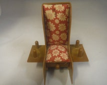 Vintage 1970's Rocking chair pin cushion with drawer, 4 spool, and scissor holder