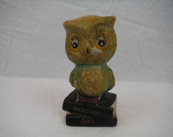 1970's Vintage Ceramic Weather Owl Statue-Collectible-Antique-Retro-Decorum