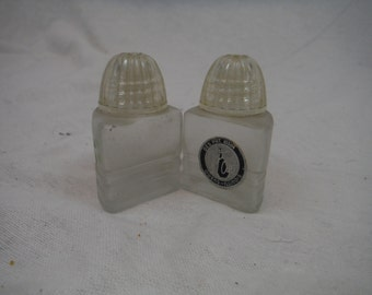 1950s - Glass Art Owens Illinois Triangle Salt and Pepper Shakers - Antique, Vintage, Collectible, Usable