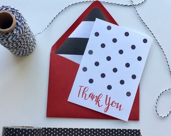 Thank You Cards, Polka Dot Thank You Card, Blank Thank You Card,  Fun Thank You Cards, Handlettering