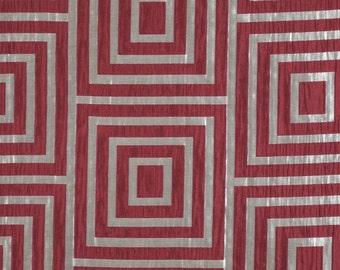 DESIGNER ETHNIC CHIC Quattro Symmetry Fabric 10 Yards Scarlet Rose