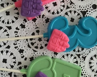"Numbered ""PRINCESS CASTLE"" Chocolate Lollipop (1-6 Available)(12 qty) Princess/Princess Castle/Castles/Princess Birthday/Princess Party"