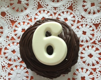 NUMBERS CUPCAKE Toppers Chocolate Toppers - (24)  Birthday Party/Special Occasion/Anniversary Celebration