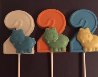 """NUMBER TWO """"HIPPO"""" Chocolate Lollipop(12 qty) Hippo Favor/Party Favor/Safari Birthday/Zoo Animal Birthday/Children's Zoo Party/2nd Birthday"""