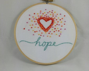 What's Your Word Hand Embroidered Inspirational Hoop Art