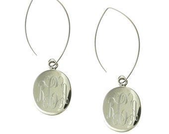 925 Sterling Silver Oval Monogram Personalized Dangle Earrings